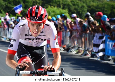 Mur-de-Bretagne, France. July 12th 2018. Tour de France 2018. Stage 6. Brest to Mur-de-Bretagne. Michael Gogl inside the last kilometre of the 181km course which has an average gradient of 6.9%.