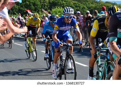 Mur-de-Bretagne, France. July 12th 2018. Tour de France 2018. Stage 6. Brest to Mur-de-Bretagne. Greg van Avermaet  inside the last kilometre of the 181km course which has an average gradient of 6.9%.