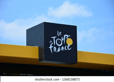 Mur-de-Bretagne, France. July 12th 2018. Tour de France 2018. Stage 6. Brest to Mur-de-Bretagne.  Le Tour de France logo above the finish line,
