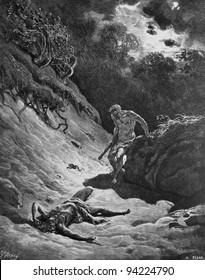 The murder of Abel. 1) Le Sainte Bible: Traduction nouvelle selon la Vulgate par Mm. J.-J. Bourasse et P. Janvier. Tours: Alfred Mame et Fils. 2) 1866 3) France 4) Gustave Doré