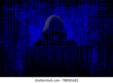 Murder hacker in black mask and hood is penetrating the domestic security information system with motion blur and world map background, concept of defense and espionage of confidential information