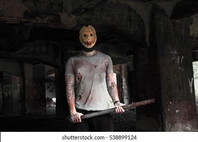murderer, abandoned factory background