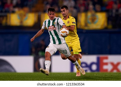 Murg of Rap Wien  and Trigueros of Villarreal during the Group G match of the UEFA Europa League between Villarreal CF and Rapid Wien at La Ceramica Stadium Villarreal, Spain on October 25, 2018.