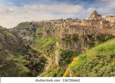 The Murgia Materana Nature Reserve and Cave Churches: viewpoint of canyon and the ancient town of Matera (Sassi di Matera), European Capital of Culture 2019, Basilicata region.