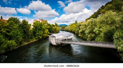 The Murinsel bridge in Graz old town, Austria
