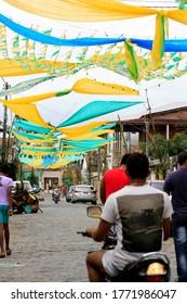 muritiba, bahia / brazil - june 23, 2014: decoration with banderolas is seen on a street in the city of Muritiba, during Sao Joao festivities.