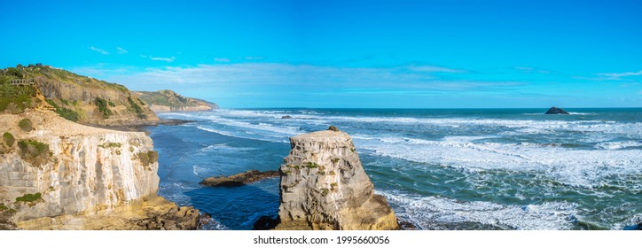 Muriwai Gannet Colony, on the west coast of the Auckland, New Zealand. black sand surf beach and surrounding area is popular for locals and tourists. Gannets nest there in a large colony on the rocks
