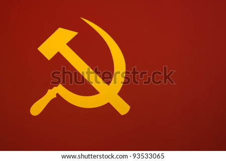 "Murky version of the Soviet flag ""The hammer and sickle""."