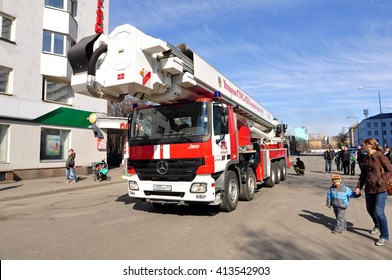 Murmansk, Russia - April 30, 2016: Parade of fire equipment at the Five Corners area. The Murmansk.