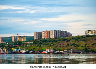 Murmansk, Russia, Aug 2016: a view of the city of Murmansk. Street Sashi Kovaleva. The Murmansk.