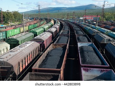 MURMANSK, Russia - august 28, 2012, Cars with coal and oil of station Murmansk