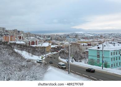 MURMANSK, RUSSIA - FEB 16, 2016: City landscape, street Chelyuskintsev