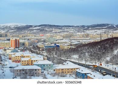MURMANSK, RUSSIA - FEB 16, 2016: �� city landscape, top view on a winter city