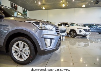 Murmansk, Russia - June 21, 2019: Car in showroom of dealership Hyundai in Murmansk city in Russia