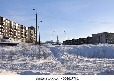 Murmansk, Russia - March, 2016: Alexandrova street . Murmansk