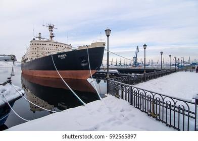Murmansk, Russia - March 2017: the city of Murmansk. Ships in port. winter. The Murmansk.