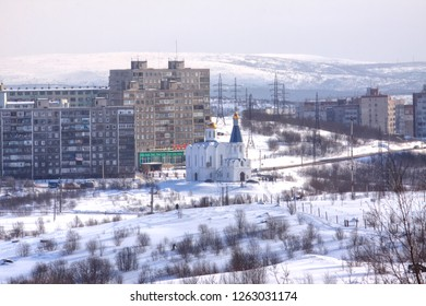 MURMANSK, RUSSIA - March 25.2009: The polar city of Murmansk, built on the banks of the Kola Bay on the hills. Temple of the Savior on Waters
