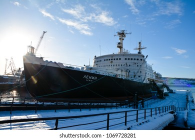 "Murmansk, Russia - March 3, 2018. The first Soviet nuclear-powered icebreaker ""Lenin"" at the dock in Murmansk. Now a museum."