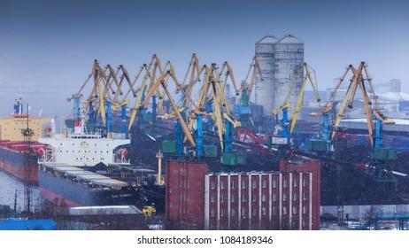 Murmansk, RUSSIA - March 31 2014,  panoramic view on coal terminal, Murmansk, Russia