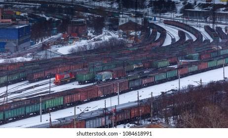 Murmansk, RUSSIA - March 31 2014,  panoramic view on railway terminal, Murmansk, Russia