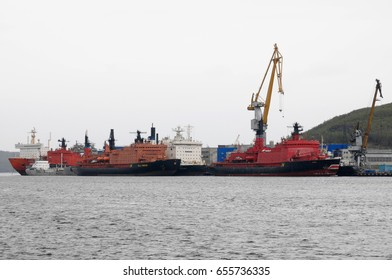 Murmansk, Russia - May 25, 2010: Atomic icebreaker stand at the port wall of Murmansk