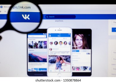 Murmansk, Russian Federation - 27 March 2019: VK website homepage. VK logo visible on screen