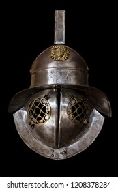 Murmillo helmet. Ancient roman gladiator reconstruction. Isolated over black