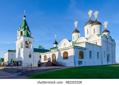 MUROM, RUSSIA - AUGUST 23, 2015: Unidentified pilgrims go to the Transfiguration Cathedral and the Church of the Intercession in Holy Transfiguration Monastery, Murom, Russia