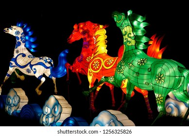 MURRELLS INLET, SOUTH CAROLINA; JULY 4, 2018; A Festival of Lights Horse display during a Summer evening at the Brookgreen Gardens just outside of Myrtle Beach, South Carolina in Murrells Inlet.