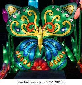 MURRELLS INLET, SOUTH CAROLINA; JULY 4, 2018; A Festival of Lights Butterfly and Flower display during a Summer evening at the Brookgreen Gardens just outside of Myrtle Beach, South Carolina