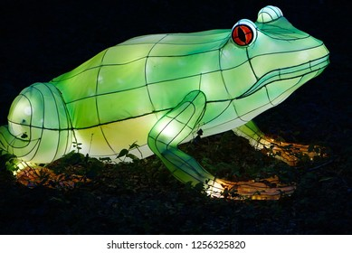 MURRELLS INLET, SOUTH CAROLINA, USA; JULY 4, 2018; A Festival of Lights Frog display during a Summer evening at the Brookgreen Gardens just outside of Myrtle Beach, South Carolina in Murrells Inlet.