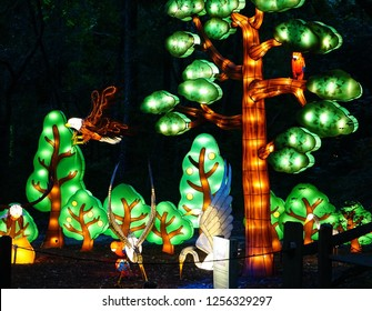 MURRELLS INLET, SOUTH CAROLINA, USA; JULY 4, 2018; A Festival of Lights Tree and Bird display during a Summer evening at the Brookgreen Gardens just outside of Myrtle Beach, South Carolina