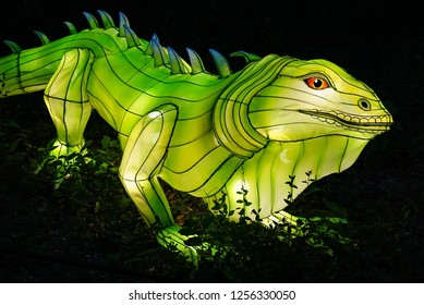 MURRELLS INLET, SOUTH CAROLINA, USA; JULY 4, 2018; A Festival of Lights Bearded Lizard display during a Summer evening at the Brookgreen Gardens just outside of Myrtle Beach, South Carolina