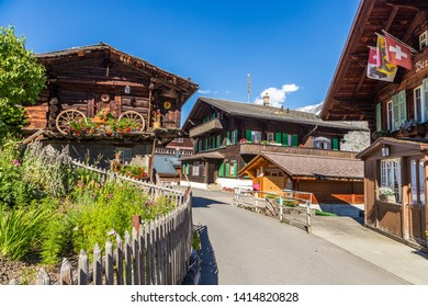 Murren, Switzerland : July 20, 2016 - Traditional wooden house in Murren, a traditional Walser mountain village in the Bernese Highlands of Switzerland