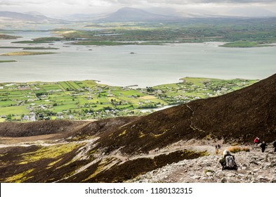 MURRISK, IRELAND - APRIL 30 2017: view of the Croagh Patrick ascent path. Croagh Patrick is a 764m (2,507 ft) mountain and an important site of pilgrimage.