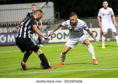 MURSKA SOBOTA, SLOVENIA - July 13, 2021: Žiga Kous of NS Mura vs KF Shkëndija during the UEFA Champions League first qualifying round, 2nd leg match