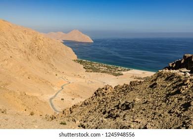 MUSANDAM, OMAN - NOVEMBER 18, 2016: Zighy Bay in the Omani enclave of Musandam