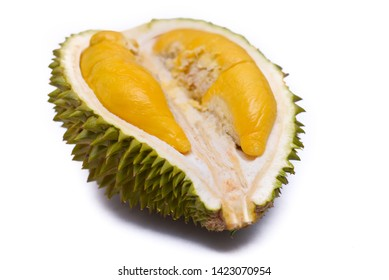 MUSANG KING Durian isolated against white background. High key images