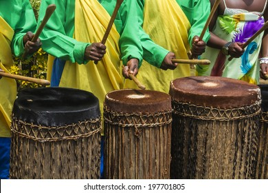 MUSANZE, RWANDA - NOVEMBER 5: Tribal Drummers of the Batwa Tribe Perform Traditional Intore Dance to Celebrate the Birth of an Endangered Mountain Gorilla on November 5, 2013 in Musanze, Rwanda.