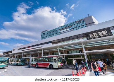 "MUSASHINO CITY, TOKYO / JAPAN - APRIL 6 2017 : Scenery of JR ""Kichijoji"" station North entrance. There is a bus terminal in front of the station."