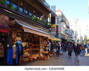 Musashino city Tokyo,Japan/Jan 11,2019:shopping area kichijoji side entrance Inokashira park
