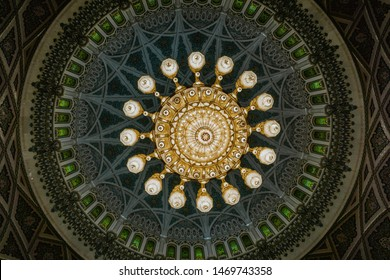 Muscat / Oman - 03.19.2019; Swarovski chandelier of Sultan Qaboos Grand Mosque in Muscat, Oman.