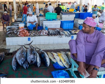 Muscat, Oman, 12 March 2017: fish market at Muttrah, town center of Muscat, Oman. Several tuna and other fish on stalls.