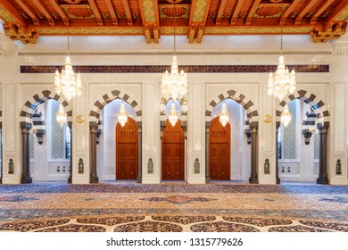 Muscat, Oman - 17 October, 2018: Beautiful view of the main prayer hall at the Sultan Qaboos Grand Mosque. Wonderful interior of the Muslim place. Amazing Islamic architecture and decoration.