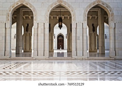 Muscat, Oman, 2 December 2017: The balanced and beautiful design of the Sultan Qaboos Mosque. The mosque is the centre of attraction in Muscat and open daily for visit except on Fridays.