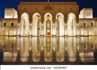 MUSCAT, OMAN -21 DEC 2016- Night view of the Royal Opera House Muscat (ROHM). Opened in 2011, it has established itself as a prime musical venue in the Middle East.