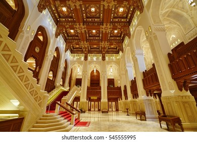 MUSCAT, OMAN -21 DEC 2016- Inside view of the Royal Opera House Muscat (ROHM) in Muscat, the capital of the Sultanate of Oman.