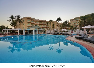 MUSCAT, OMAN -21 DEC 2016- The Grand Hyatt Muscat is a luxury hotel, located on a beach in the Diplomatic District of the Sultanate of Oman capital.