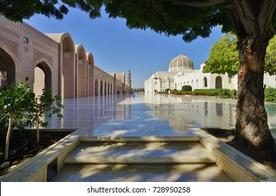 MUSCAT, OMAN -21 DEC 2016- Opened in 2001, the Sultan Qaboos Grand Mosque located in the Omani capital of Muscat is the main mosque in the Sultanate of Oman.