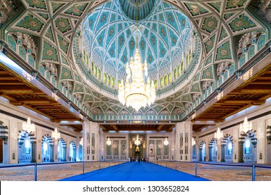 MUSCAT, OMAN -21 NOV 2018- Opened in 2001, the Sultan Qaboos Grand Mosque located in the Omani capital of Muscat is the main mosque in the Sultanate of Oman